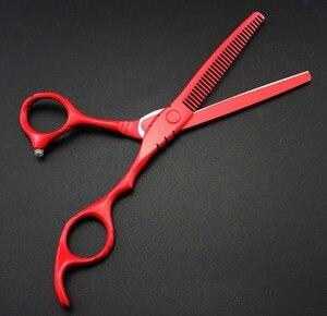 Image 4 - Tijeras de corte y corte de pintura de Piano rojo de 5,5 y 6 pulgadas, hechas a medida, tijeras de corte de pelo, bolsa, tijeras de peluquería