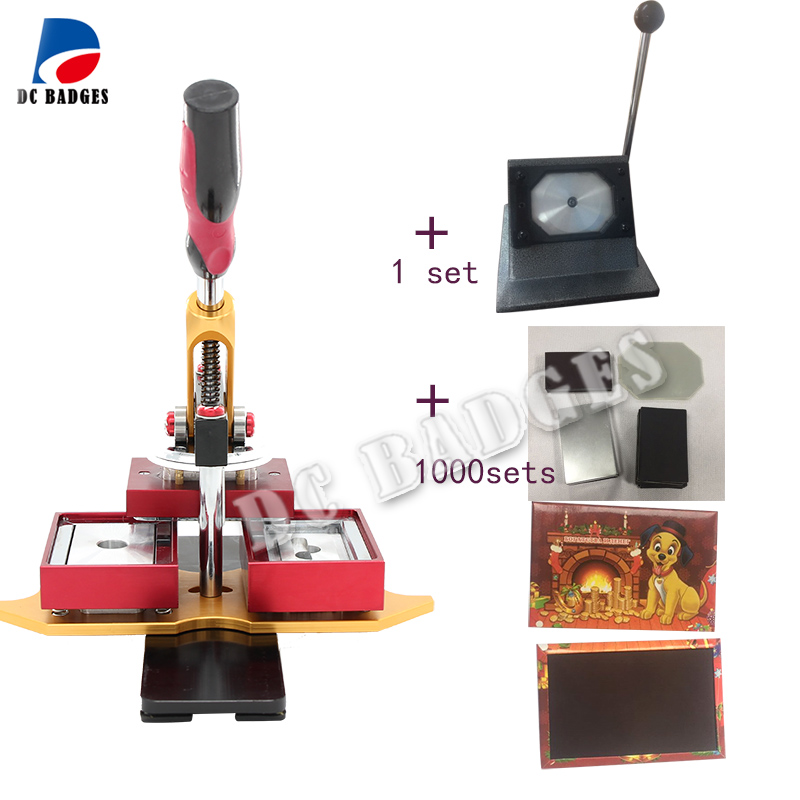 Free Shipping 80*53mm Rectangle magnetic button Making Machine with stander paper cutter and  1000sets magnet  material