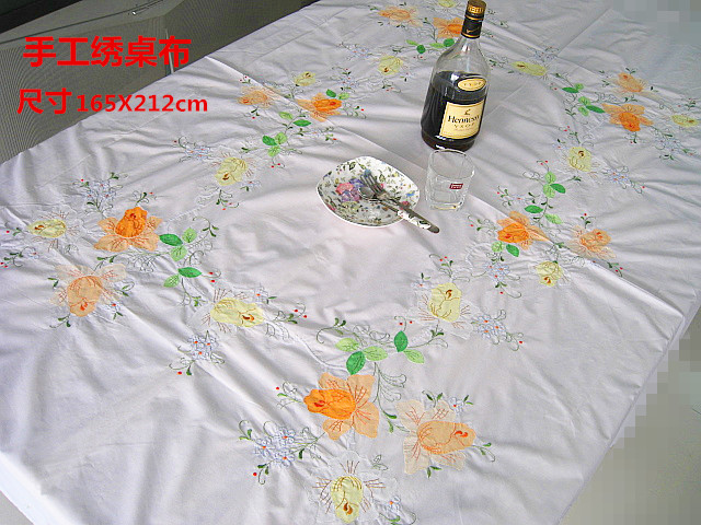 Home table cloth embroidered classic hand embroidered tablecloth applique  tablecloth cover bed of roses