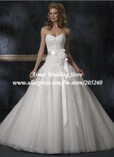 GR97 2014 high quality lace up beaded wedding dress floor length bridal dress sweep brush train sleeveless strapless bow flower