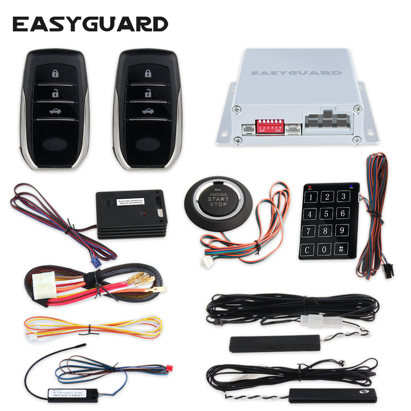 EASYGUARD quality pke car alarm system Rolling code auto start push button start touch password entry
