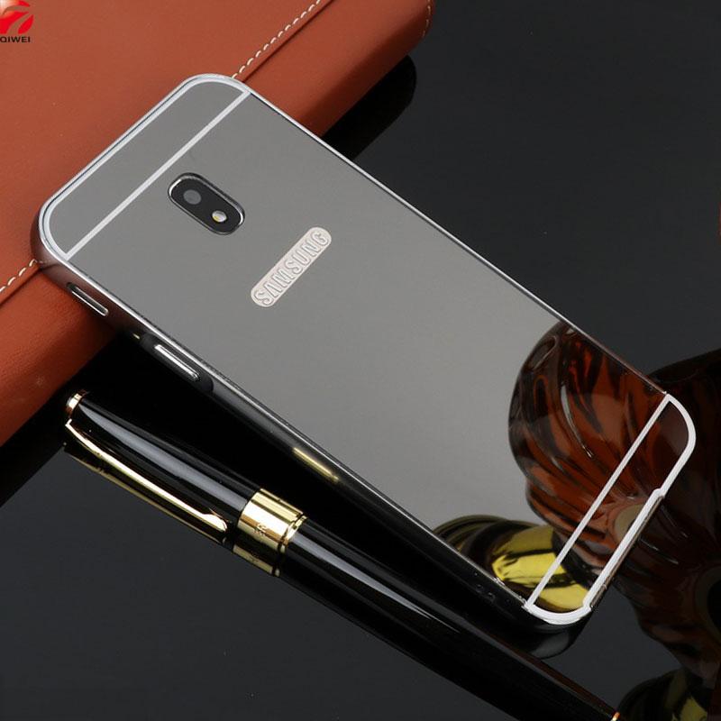 For Samsung Galaxy J7 2017 Case Plating Mirror Aluminum Metal Frame Bumper +Hard Plastic Back Cover For Samsung J7 2017 Pro J730
