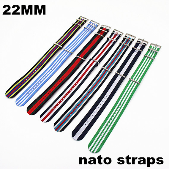 Retail - New color - Hot sale ! High quality 22MM Nylon Watch band NATO straps waterproof watch strap nato strap - 40301 wholesale 10pcs lot high quality 20mm nylon watch band nato waterproof watch strap colorful fashion wach band nato strap new