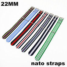 Retail - New color 2014 Hot sale ! High quality 22MM Nylon Watch band NATO straps waterproof watch strap nato 40301