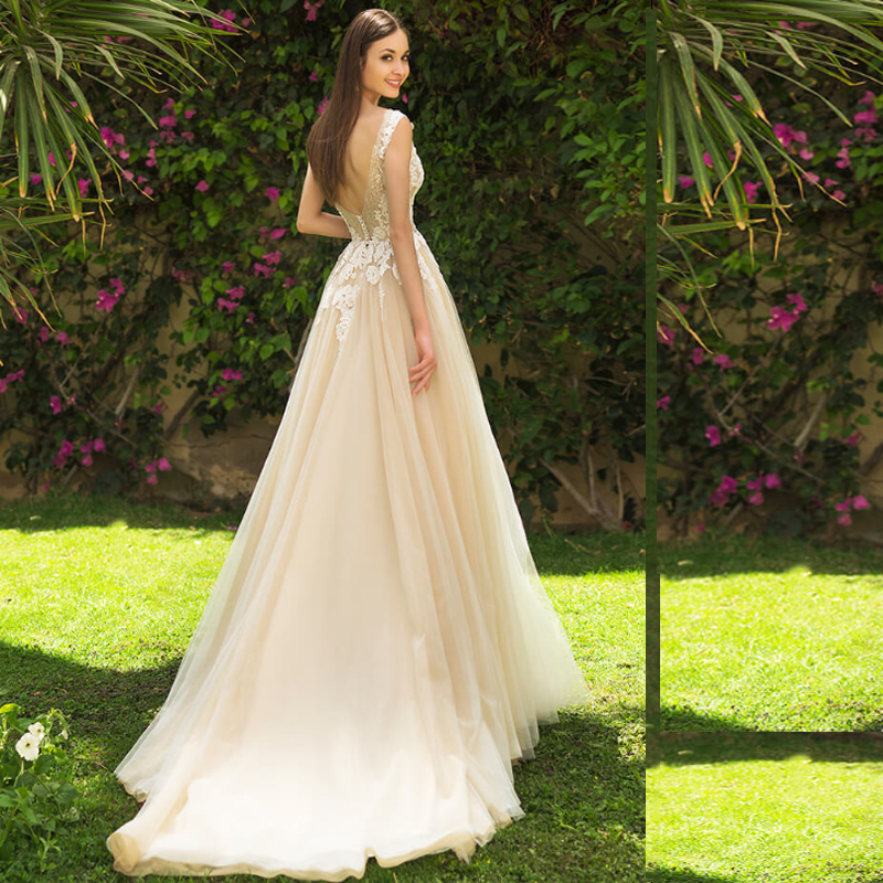 SoDigne Champagne Wedding Dress 2019 A Line Appliqued Lace Bride Dress Backless Floor Length Bride Gowns vestido de novia sirena in Wedding Dresses from Weddings Events