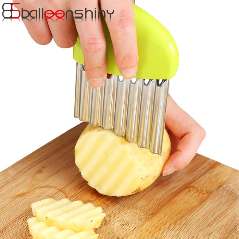 BalleenShiny Stainless Steel Vegetable Carrot Wavy Cutter Slicer Potato Chips Corrugated Knife Kitchen wrinkled french fries in Shredders Slicers from Home Garden