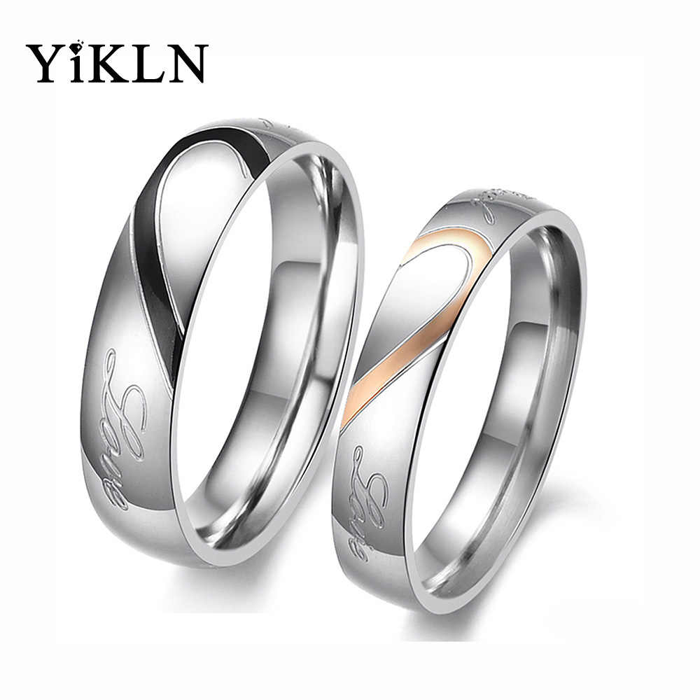 YiKLN Romantic Stainless Steel Silver Half Heart Circle Real Love Couple Rings Jewelry For Women Wedding Engagement Ring OGJ284