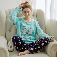 Flannel Winter Women Warm Printing Moon Star Letter Pajamas Sets With Long Sleeve Long Pant Plus