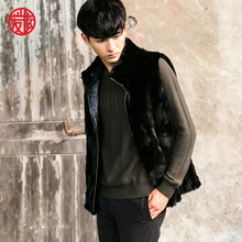 VR096 men's genuine real mink fur vest winter warm real one fur jacket /jackets
