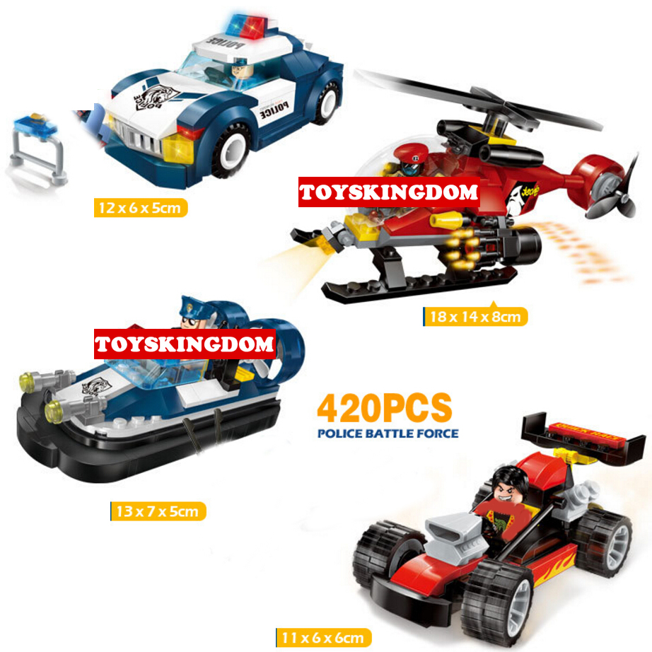 Hot city super police building block policeman Robbers figures cars speed boat helicopter karts bricks toys for kids gifts ...