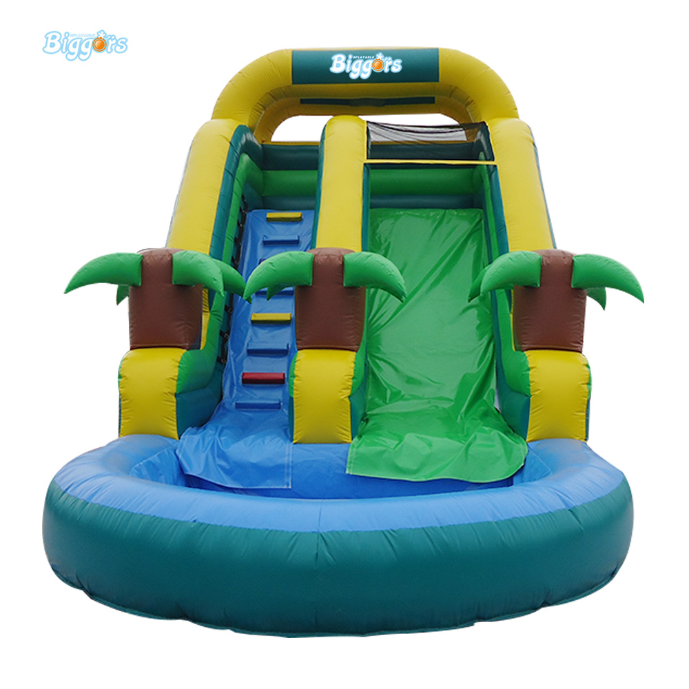 7*3.5*3 M Green Color Giant Inflatable Water Slide With Pool Outdoor Sports Games For Toys commercial inflatable water slide with pool made of pvc tarpaulin from guangzhou inflatable manufacturer