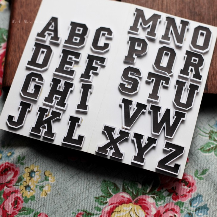 Black and white Letter Stickers Scrapbook Self Adhesive Stickers