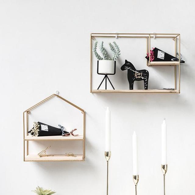Innovative Geometric Shape Living Room Storage Rack Wall Shelf Wall-mounted Decoration Pendant Restaurant Porch Room Decor 5