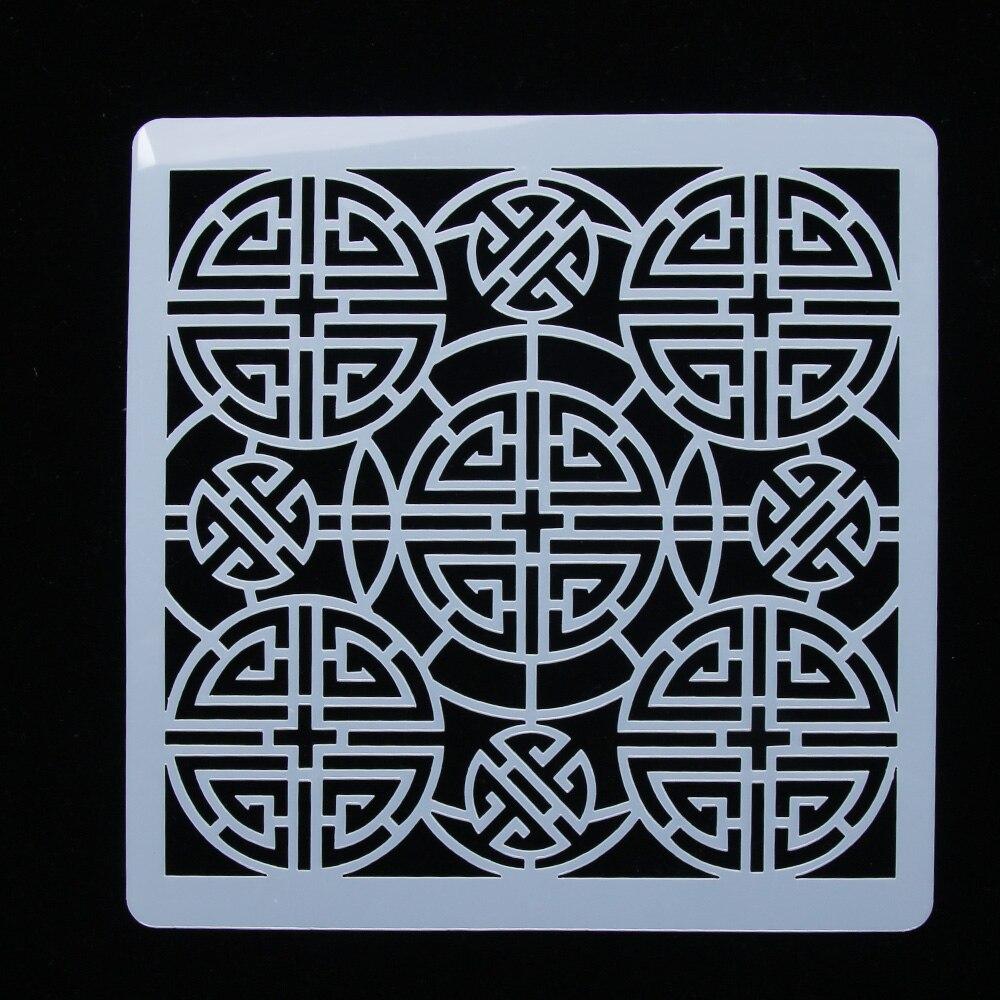 1PC Vintage Chinese Tradition Auspicious Totem Reusable Stencil Airbrush Painting Art DIY Home Decor Scrap Booking Album Crafts