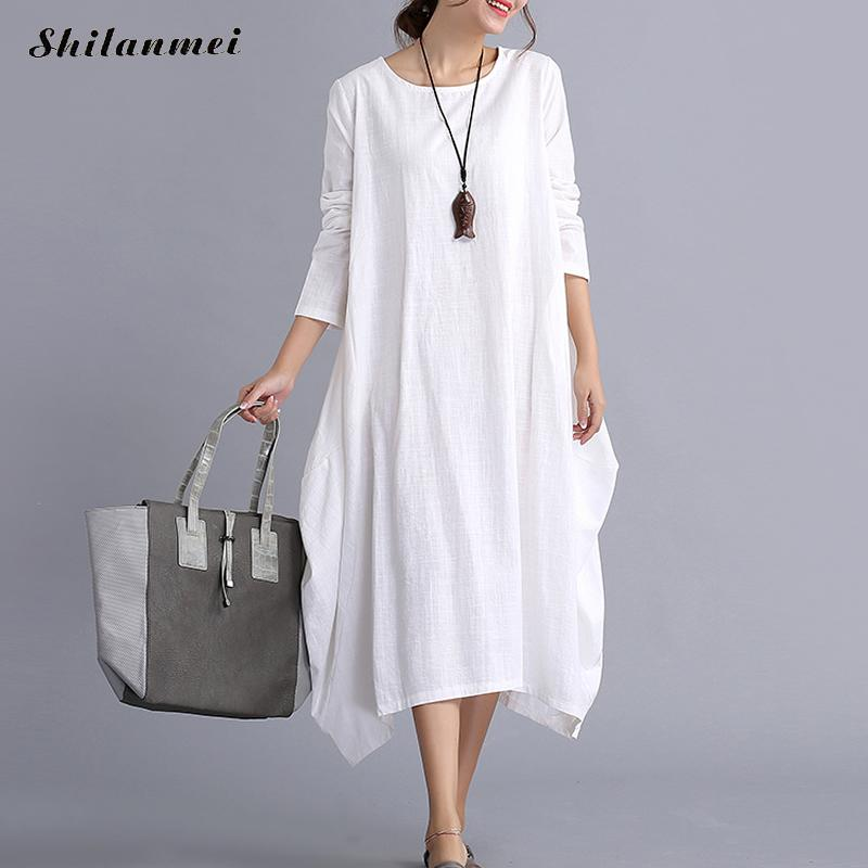 2017 Big Sizes Beach Dresses Summer Bohemia Style Loose plain Maxi Dress for Women Asymmetrical vestidos