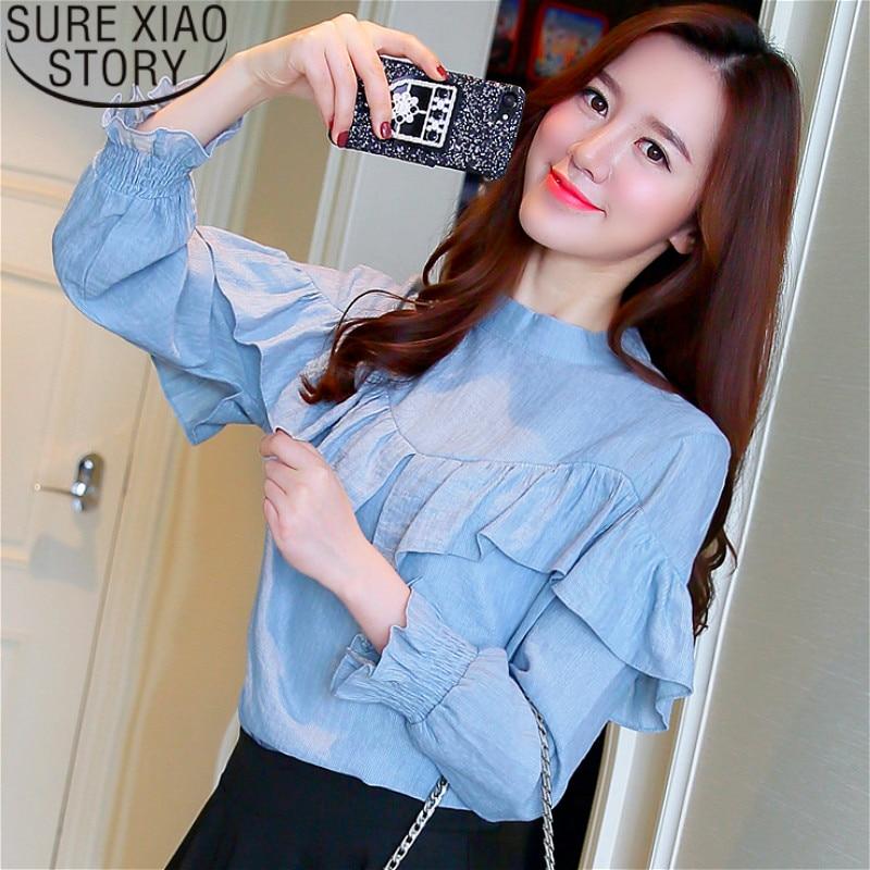 Mujer Alto Cuello Blusas De 50 Cielo blanco Manga Camisas 1883 Y Moda Mujeres Tops Azul Blusa 2019 Gasa Volantes PBdrqBwv