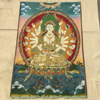 Tibetan Buddha Silk Embroidery Nepalese Golden Silk Old Thangka Portrait Weaving Embroidery Avalokitesvara Thangka фото
