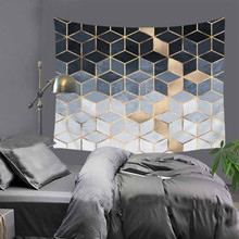 Cilected 1PC Simple Geometric Tapestry Black Gold Nordic Wall Hanging Modern Dormitory Room Decoration Polyester Cushion Blanket