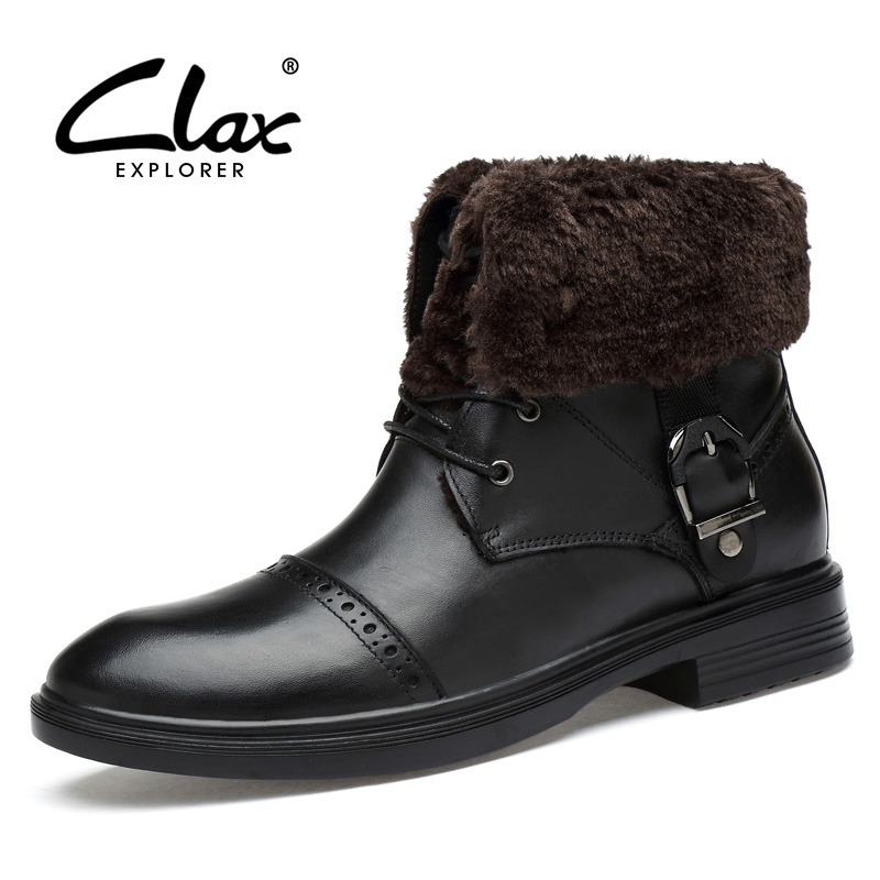 CLAX Men's Boots 2017 Genuine Leather Black Dress Shoe Autumn Boot Male Winter Boot Plush Fur Warm Handmade Big Size цены онлайн