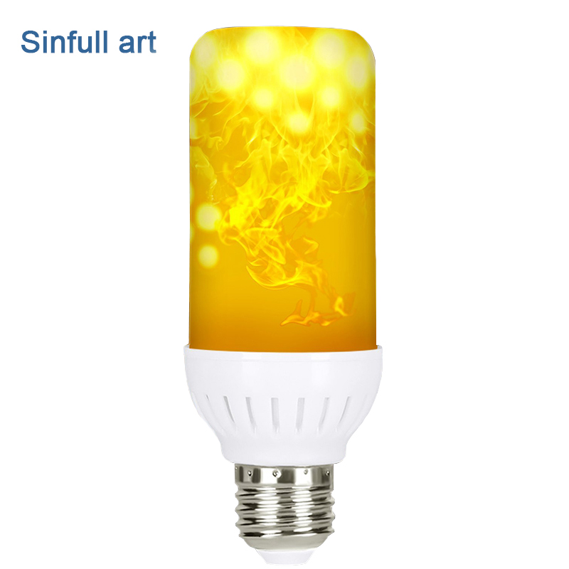 SINFULL ART led flame bulb E27 flame light bulb 99pcs 2835 Flaming Simulated Fire Effect Lamp Holiday Decora flickering Lighting