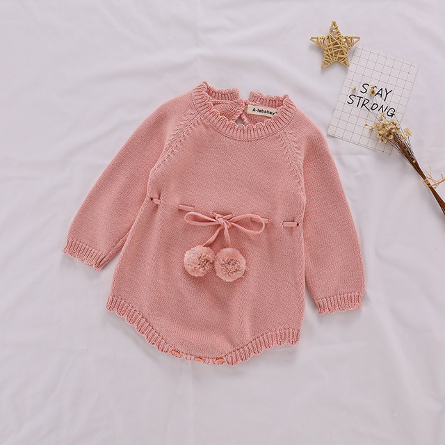 Autumn Baby Knitted Rompers Sweater Baby Girl Long-sleeve Knitted Overalls Infant Girl Princess Cotton Clothes Baby Girl Romper 2