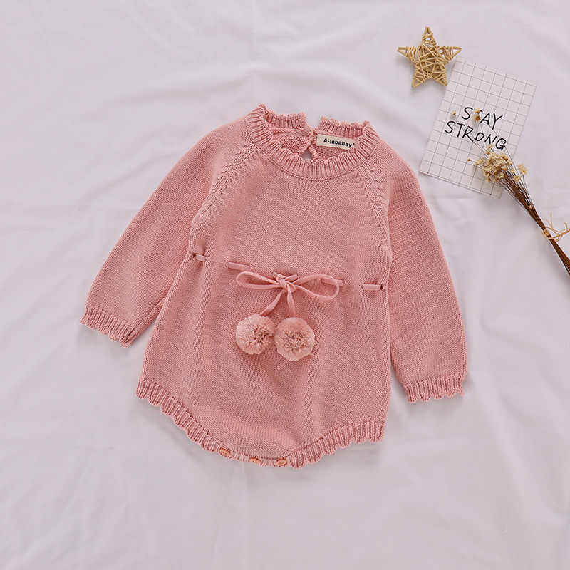 8d29ead1f7b1 ... Autumn Baby Knitted Rompers Sweater Baby Girl Long-sleeve Knitted  Overalls Infant Girl Princess Cotton ...