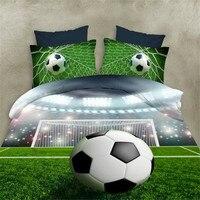 Esydream 3D Football Boys Bed Sheet Sets 4pc No Comforter 100 Polyester Queen Size 3D Football