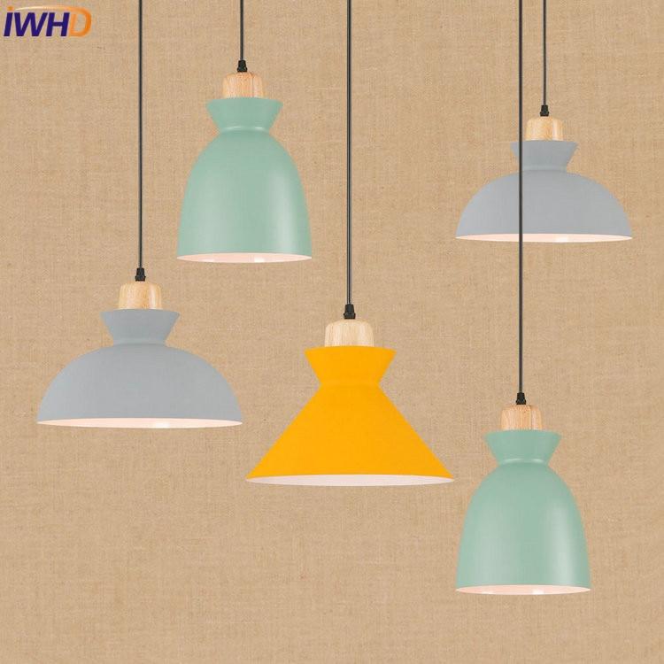 IWHD Wooden Industrial Vintage LED Pendant Lights Creative Loft Pendant Lamp Colorful Hanglamp Fixtures Home Lighting Luminaire iron cage loft style creative led pendant lights fixtures vintage industrial lighting for dining room suspension luminaire