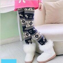 VEENIBEAR/теплые зимние штаны для девочек в рождественском стиле; леггинсы для девочек с цветочным принтом; детская одежда с эластичной резинкой на талии для девочек; От 3 до 9 лет