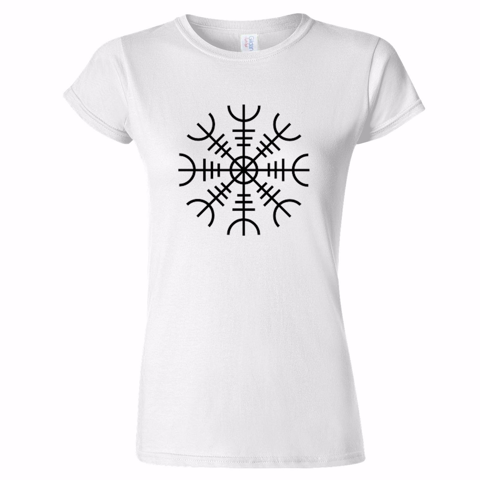 HELM OF AWE 2 WOMENS T SHIRT NORSE NORDIC Aegishjalmur NORWAY SYMBOL NORSE New T Shirts Funny Tops Tee New Unisex Funny Tops in T Shirts from Men 39 s Clothing