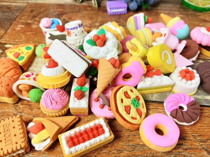 60pcs Kawaii Eraser Cute Creative Cake Ice Cream Puzzle Erasers For Pencils School Stationary Rubber Kids Gift Free Shipping