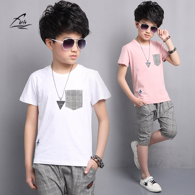 FYH 2017 Kids Boys Summer Suit Baby Boys Clothing Sets Teenager Boys Short sleeved Set Children