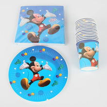 40 шт., набор украшений с Микки Маусом для маленьких мальчиков на день рождения, вечерние принадлежности с Микки, Детские вечерние комплекты для дня рождения
