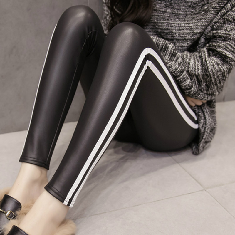 Winter Autumn Fashion Women's Leggings Leather Slim Bodycon Push Up Pencil Pants Black Red Striped Workout Femma Trousers
