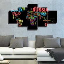 Creative Letters Map Wall Art Abstract Colorful World Canvas Painting for Living Room Decor Poster Kid Frame