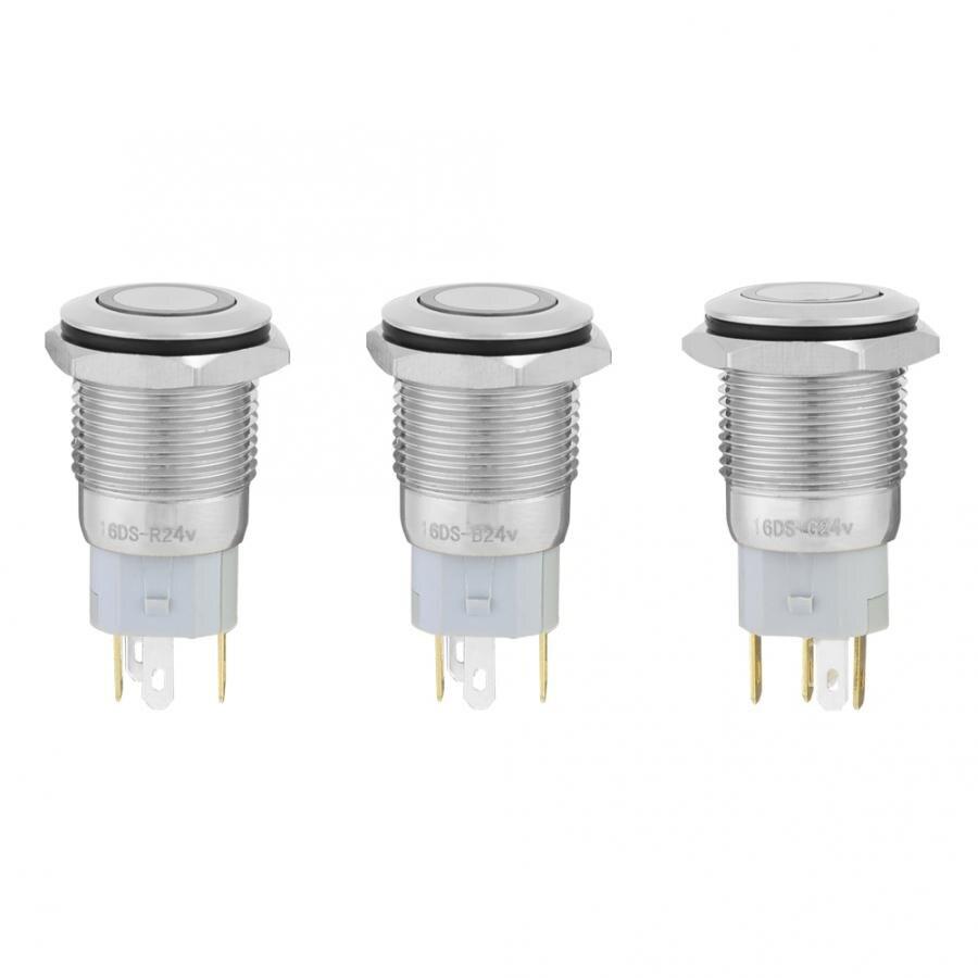 Беспроводной переключатель для выведения токсинов, 40 шт 16 мм, самофиксирующиеся металлическая кнопка переключатель 24 V светодиодный свет 5 контактный выключатели света прерыватель - 3