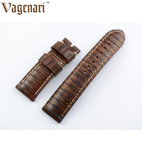 Unique D196 Brown Italian Genuine Leather Watch Strap 24 22mm Watchband With Buckle