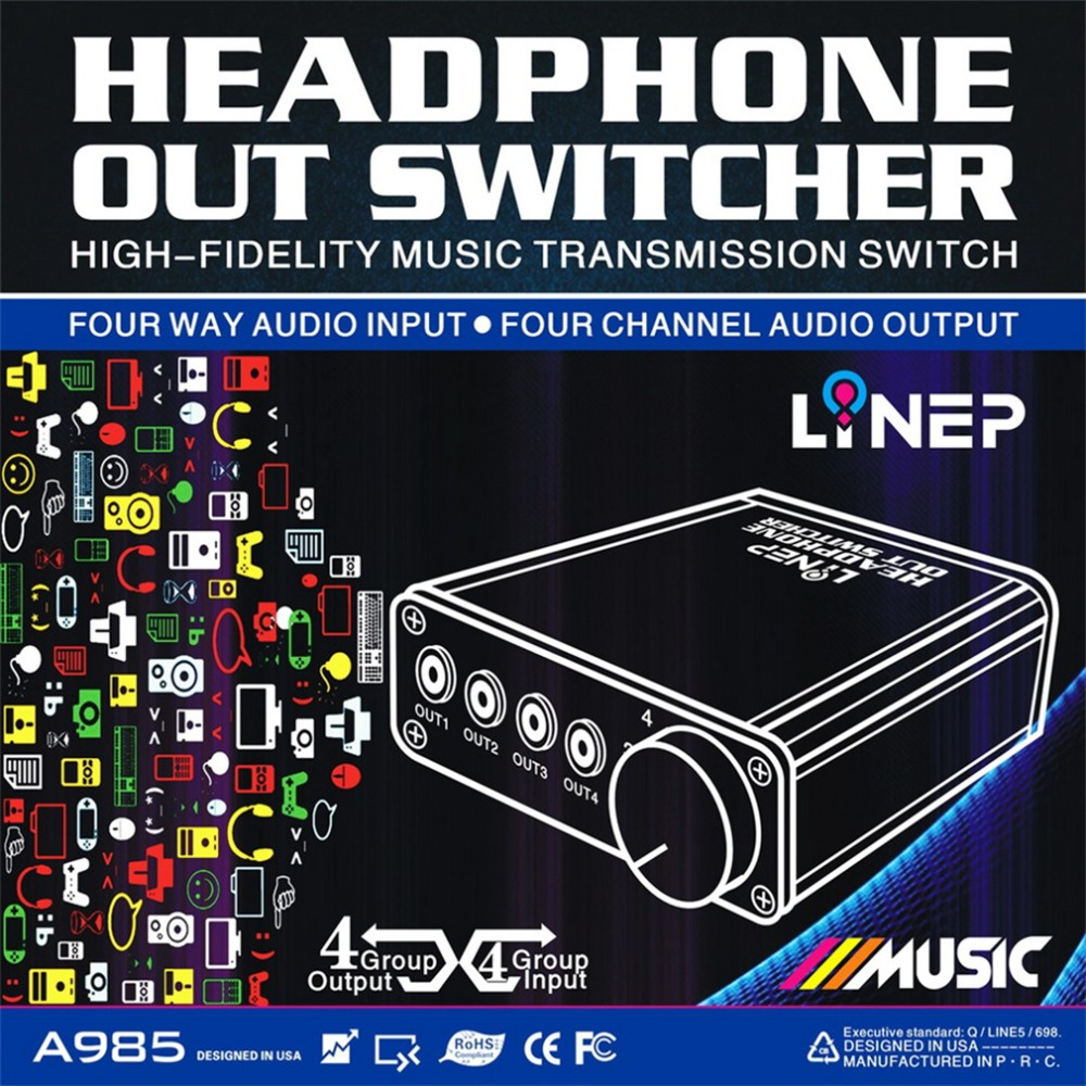 Back To Search Resultsconsumer Electronics Helpful 4 Input 4 Output Earphone Headphone Headset 3.5mm Mp3 Audio Signal Switch Switcher Digital Multi-channel Us Plug Black Wholesale Earphone Accessories