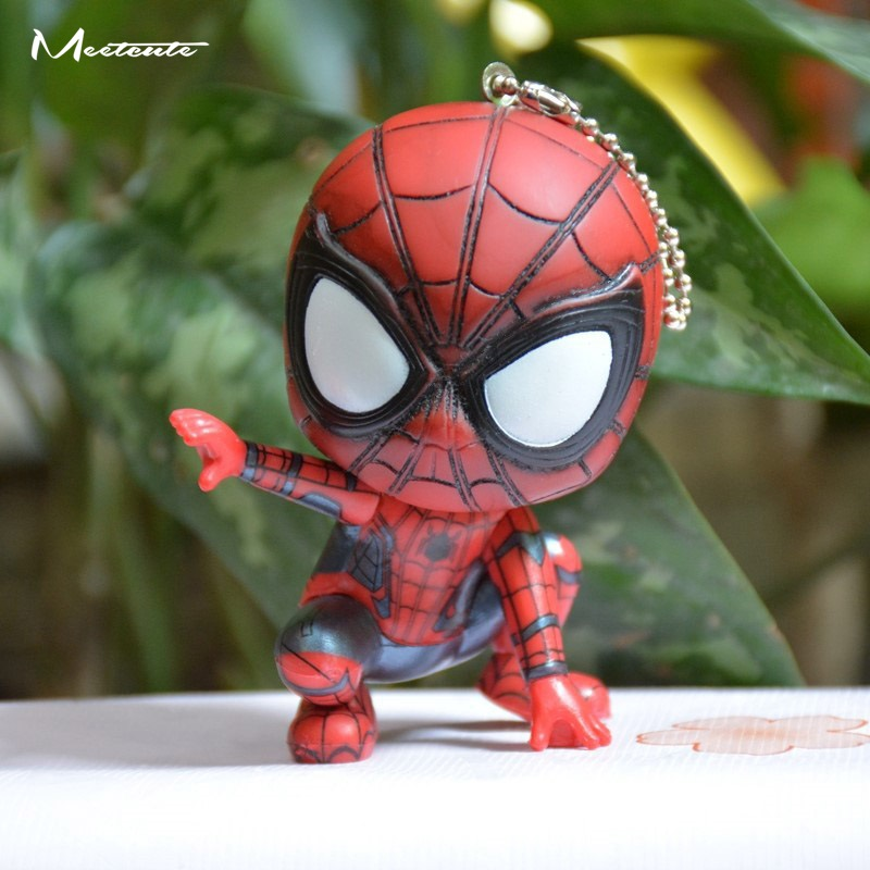 Meetcute 7.5cm Movie Spider Man Keychain Hero Homecoming Car Key Ring Pendant Spiderman Keychains Toys Women Men Jewelry Trinket