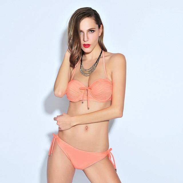 59c4b910c2 Pure Sexy Swimwear bikinis triangular steel holder female thin Slim small  chest gather spa code display good sale swimsuit