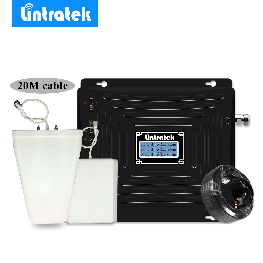 Lintratek NEW Tri Band 2G 3G 4G LTE Cell Phone Signal Repeater Booster Amplifier GSM 900MHz 1800MHz 2100MHz WCDMA Antenna Set @