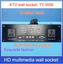 wall socket  HD HDMI  VGA USB NETWORK  RJ45 Video information outlet panel /multimedia home hotel rooms KTV wall socket TY-W06