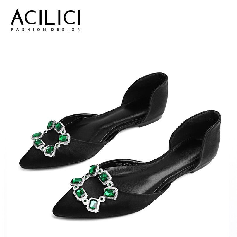 Chaussures de fête en métal décoration en peau de mouton bout pointu en cuir véritable femmes chaussures plates