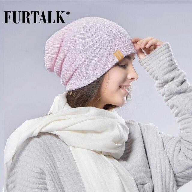 FURTALK Women Spring Knitted Hat for Women Slouchy Beanie Hat Cap for Women Knit Wool Women Cuff Hats Girls Hat Female