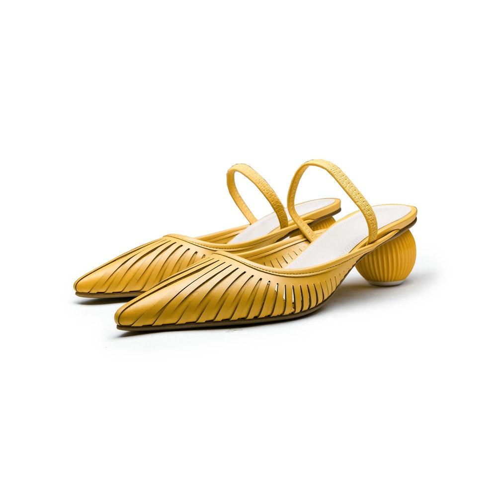 Aiweiyi 정품 가죽 플립 플롭 컷 아웃 샌들 라운드 발가락 이상한 스타일 하이힐 여름 비치 슬리퍼-에서하이힐부터 신발 의  그룹 2