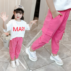 Image 3 - Casual Kids Girls Cargo Pants Pure Color Summer Cool Trousers Pocket Loose Pant for Teen Girl 4t 8 12y Children Clothing Spring