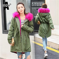 Achiewell Women's Army Green Large Color Cotton Fur Hooded Coat Parkas Outwear Long Detachable Lining Winter Jacket Brand Style