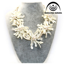 где купить MADALENA SARARA Hot Sale European American White Freshwater Pearl Necklace Five Shell Flower Multi-rows Necklace Personality по лучшей цене