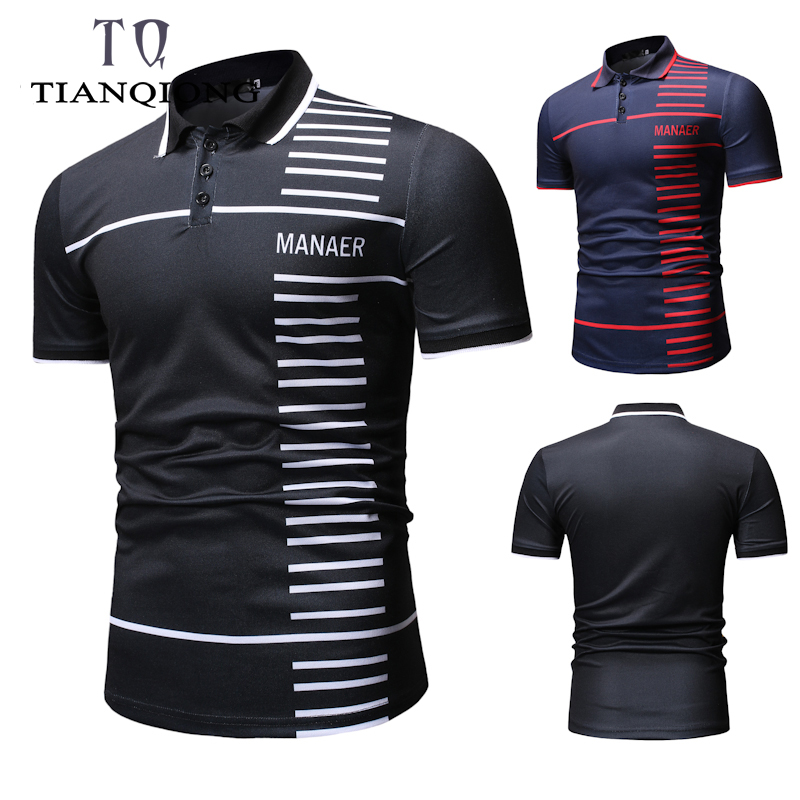 2019 Summer Fashion Brands   Polo   Shirt Men Business Casual Breathable Slim Fit Men   Polo   Shirt Short Sleeve Stripe Men Clothing