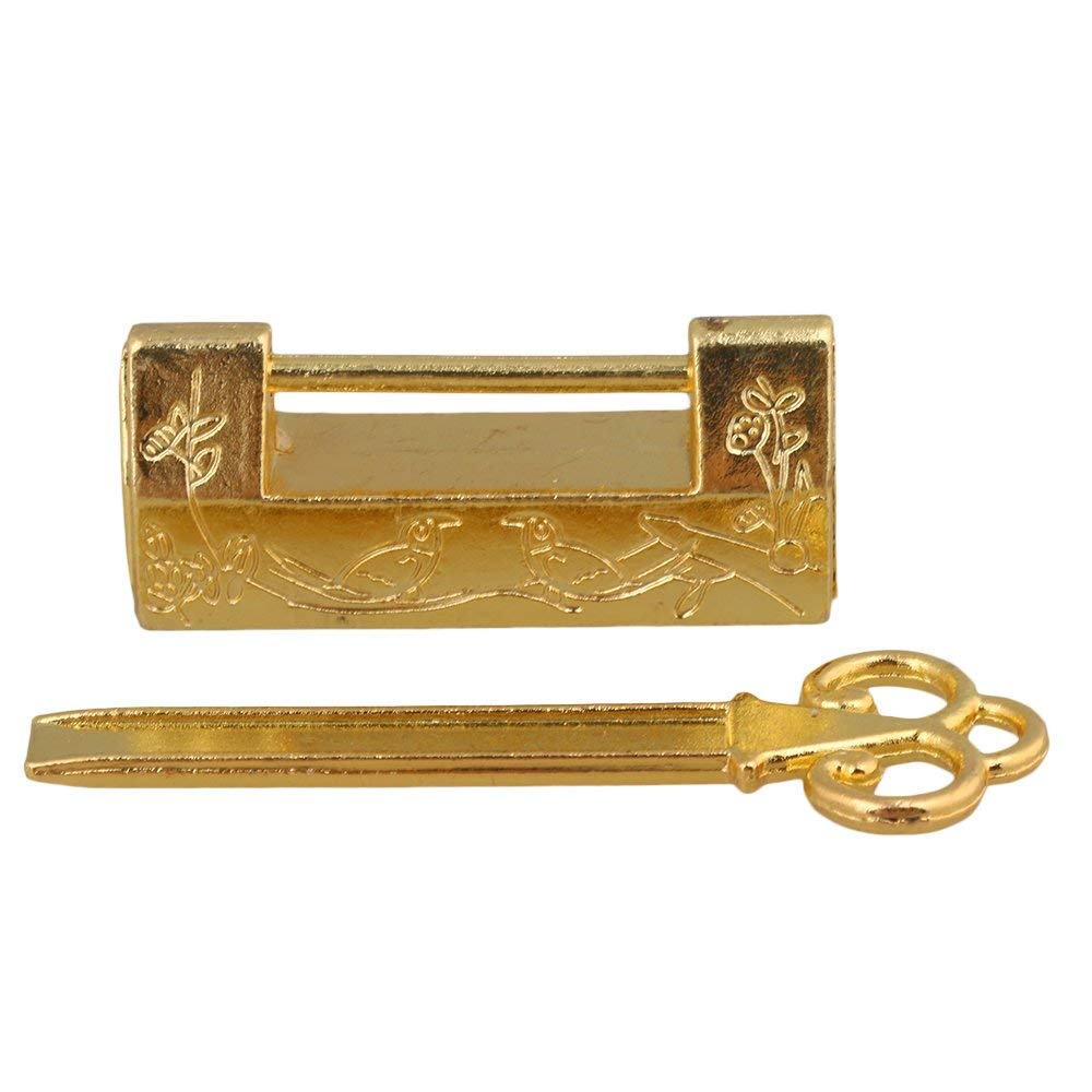 1Pcs Golden Chinese Ancient Style Vintage Double Flower Birds Padlock Lock for Jewelry Box Wooden Case Cabinet Locks     - title=